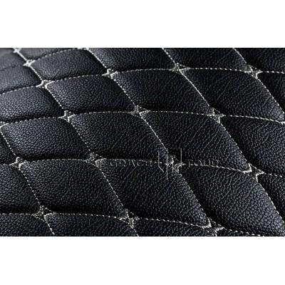 Автомобильный коврик в багажник 2D Премиум черный с белой строчкой