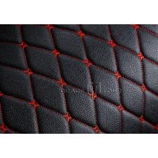 Автомобильный коврик в багажник 2D Премиум черный с красной строчкой
