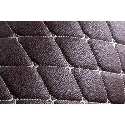 Автомобильный коврик в багажник 2D Премиум коричневый с белой строчкой