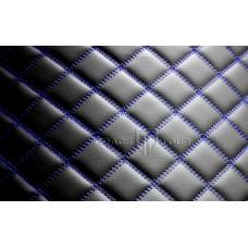 Автомобильный коврик в багажник 2D Люкс черный с синей строчкой