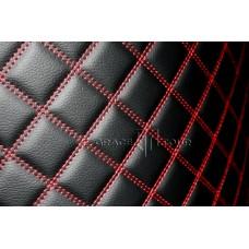 Автомобильный коврик в багажник 2D Люкс черный с красной строчкой