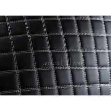 Автомобильный коврик в багажник 2D Люкс черный с белой строчкой