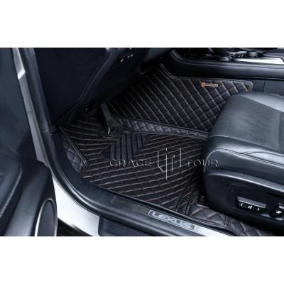 Автоковрик Люкс 3D чёрный с коричневой строчкой