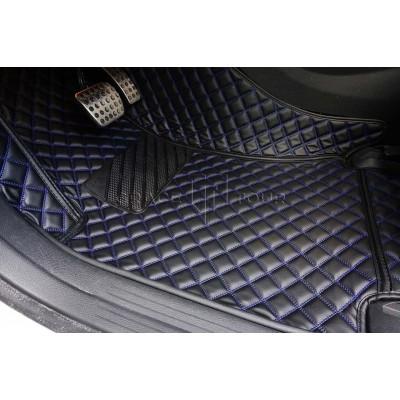 Автоковрик Люкс 3D чёрный с синей строчкой