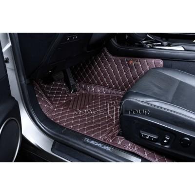 Автоковрик Премиум 3D тёмно-коричневый с бежевой строчкой