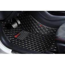 Автоковрик Премиум 3D чёрный с бежевой строчкой