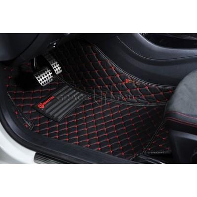 Автоковрик Премиум 3D чёрный с красной строчкой