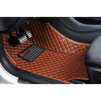 Автоковрик Люкс 3D коричневый с коричневой строчкой