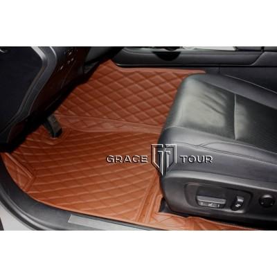 Автоковрик Престиж 3D светло-коричневый с коричневой строчкой