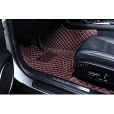 Автоковрик Люкс 3D  коричневый с бежевой строчкой