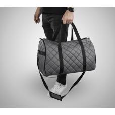 Дорожная сумка из экокожи Ромб серый+черный