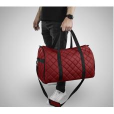 Дорожная сумка из экокожи Ромб красный+черный