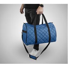 Дорожная сумка из экокожи Ромб синий+черный