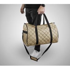 Дорожная сумка из экокожи Ромб бежевый+черный