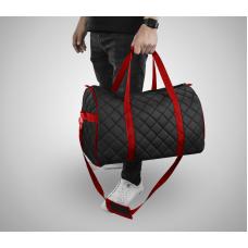 Дорожная сумка из экокожи Ромб черный+красный