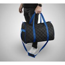 Дорожная сумка из экокожи Ромб черный+синий