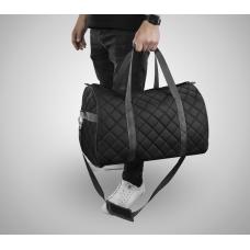 Дорожная сумка из экокожи Ромб черный+серый