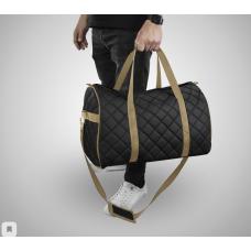 Дорожная сумка из экокожи Ромб черный+бежевый