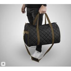 Дорожная сумка из экокожи Ромб черный+коричневый