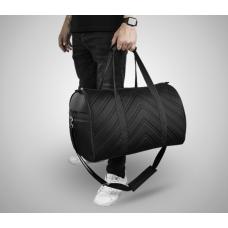 Дорожная сумка из экокожи Полосы черный+черный