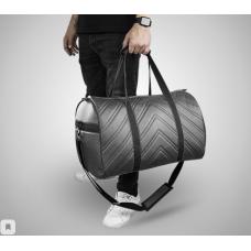 Дорожная сумка из экокожи Полосы серый+черный