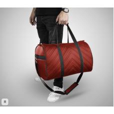 Дорожная сумка из экокожи Полосы красный+черный