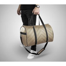 Дорожная сумка из экокожи Полосы бежевый+черный