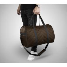 Дорожная сумка из экокожи Полосы шоколадный+черный