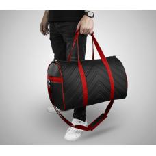 Дорожная сумка из экокожи Полосы черный+красный