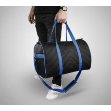 Дорожная сумка из экокожи Полосы черный+синий