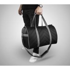 Дорожная сумка из экокожи Полосы черный+серый