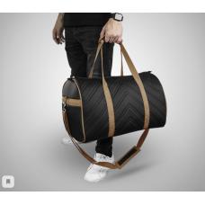 Дорожная сумка из экокожи Полосы черный+бежевый