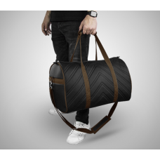 Дорожная сумка из экокожи Полосы черный+коричневый