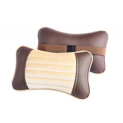 Подушка под шею коричневый/бежевый/бежевый/коричневый