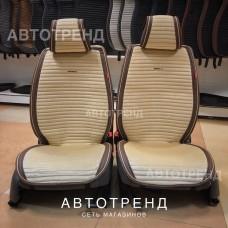 Накидки на сиденье Премиум АВТОТРЕНД бежевый/коричневый