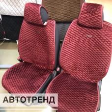 Накидки на сиденья Ромбик АВТОТРЕНД бордовый (весь салон)