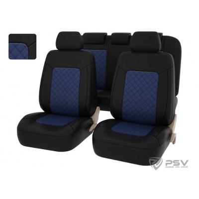 Чехлы для сидений из экокожи в ромб универсальные PSV ELEGANT синий