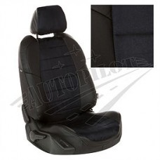 Чехлы на сиденья из матовой экокожи/алькантары АВТОПИЛОТ (Чёрный + Черный)