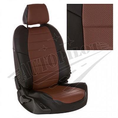 Чехлы на сиденья из матовой экокожи АВТОПИЛОТ (Чёрный + Темн. коричневый)