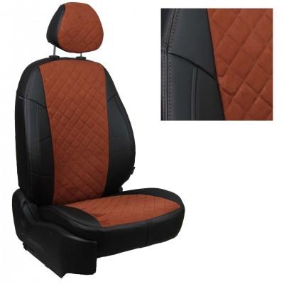 Чехлы на сиденья из матовой экокожи/алькантары РОМБ АВТОПИЛОТ (Черный+Коричневый)