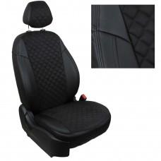 Чехлы на сиденья из матовой экокожи/алькантары РОМБ АВТОПИЛОТ (Черный+Черный)