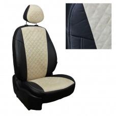 Чехлы на сиденья из матовой экокожи/алькантары РОМБ АВТОПИЛОТ (Черный+Бежевый)
